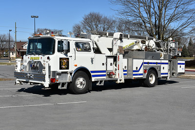 Longmeadow, Maryland in Washington County - Tower 27.  Longmeadow utilized this 1981 Mack CF611FAP/Baker/2001 ITE 75' Aerialscope while their 2000 Pierce Dash 75' quint was being repaired.  Received in November of 2017 from ITE in Marion PA, Longmeadow volunteers added some of their pride to the truck.  Originally delivered to FDNY where it ran as Ladder 23 (MT8023), it was later sold to the Reliance Fire Company of Philipsburg, PA where it ran as Tower 12.  Mack serial number 2145.