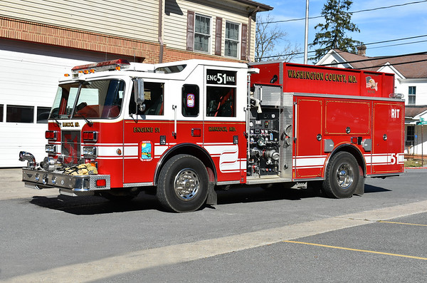 Hancock, Maryland Engine 51, a 2007 Pierce Saber 1250/1000 with job number 19329.
