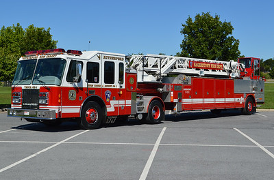 Reserve Truck 11 for Hagerstown, Maryland was purchased in 2014 from Rutherford, NJ.  It is a 1994 Simon-Duplex/LTI 100' tiller.  Note that the cab has Rutherford markings, in addition to the Hagerstown emblem.  The tiller is marked for Hagerstown.  RT 11 is housed at the quarters of Engine 2, Antietam FC.