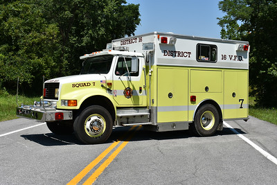 Former Squad 7 was originally delivered to the Funkstown, Maryland FD.  In 2001, the District 16 VFC in Allegany County, Maryland received the 1989 International 4900/KME with serial number GSO 619.