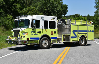 Engine 7 from District 16 VFC in Allegany County, Maryland is this 2007 Spartan Evolution/2008 4-Guys top mount 1500/1000/40.  Serial number F-2549.  Note the pump panel area with standing room.
