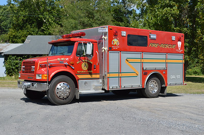 Rescue Squad 15 is a 1996 International 4900 built by 4-Guys with number R-1795.  Mt. Savage, Maryland in Allegany County.