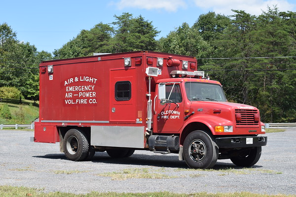 """Oldtown, Maryland Air 13 - a 1989 International 4900/1971 Thiele.    Originally a """"Allegany-Garrett Co. Vol. Firemen's Assoc"""" and housed at Clarysville VFD in Allegany County.  When Clarysville closed, it ultimately was given to Oldtown.  Original truck was a 1971 Dodge 500/Thiele."""