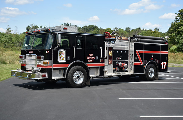 Shaft, Maryland in Allegany County Engine - Rescue 1-7-2 is a 2004 Pierce Arrow XT with top mount 1250/750.  Serial number 15212.  Originally painted red and white, it was repainted to black in 2018.