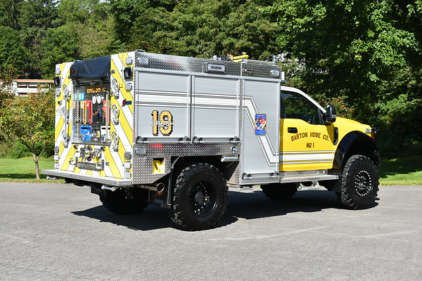 """Barton, Maryland Brush 19, a 2018 Ford F550 4x4/Marco with a 500/375/10 and Marco serial number H18170.  Features include a 6"""" lift kit and two booster reels."""