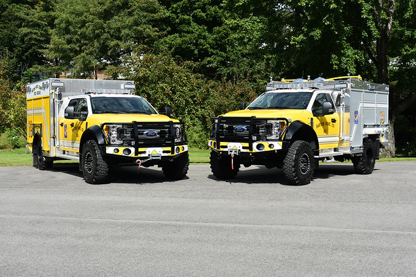 Mini Pumper 19 on the left (2017 Ford F550 4x4/Marco 500/250/10) and Brush 19 on the right (2018 Ford F550 4x4/Marco 500/375/10).