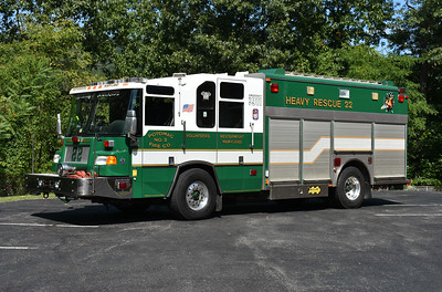 Rescue 22 from Westernport is a 1997 Pierce Quantum with a 1991 Saulsbury squad box and equipped with a 250/200.  Pierce job number F-3763.  Original to Burke, Virginia in Fairfax County.  The truck originally had a 1991 Duplex cab with the Saulsbury box.  In 1997, this truck caught on fire  while sitting in the bay of Burke Station 14.  The fire destroyed the station.  The squad was sent to Pierce for a rehab, which resulted in the Pierce Quantum cab.  After additional years at Burke, it was  sold to Westernport in 2011.