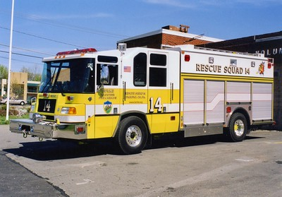 Former Rescue 414, a 1997 Pierce Quantum/1991 Saulsbury, 250/250, sn- F3763.  Damaged in a station fire in 1997, the former Duplex cab was replaced by the Quantum.  Sold to the Potomac Fire Company in Westernport, Maryland.