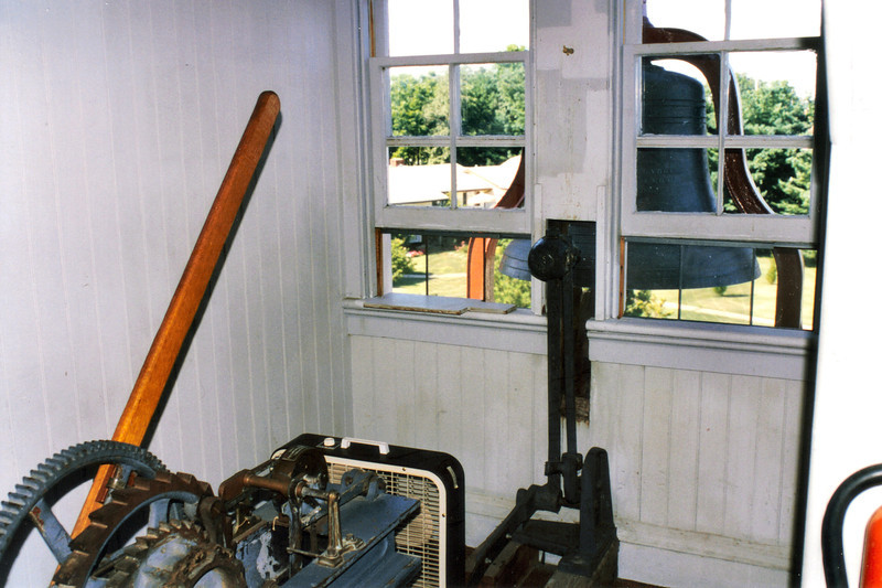 The works for the fog bell were located on the second floor of the lighthouse. The clockworks required winding every two hours. A 30 pound hammer would strike the fog bell located just outside the window.