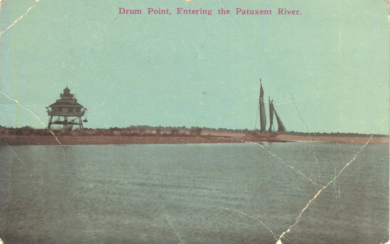 A postcard view of the Drum Point Lighthouse from 1915.