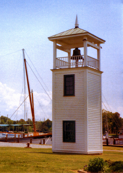 In November 1872 a fog bell tower was installed at the Point Lookout Light Station.  The 1,000 pound bell, which was cast in New York, was struck by machinery in 10 second intervals.  The tower was moved to the grounds of the Chesapeake Bay Maritime Museum in St. Michaels in 1968.