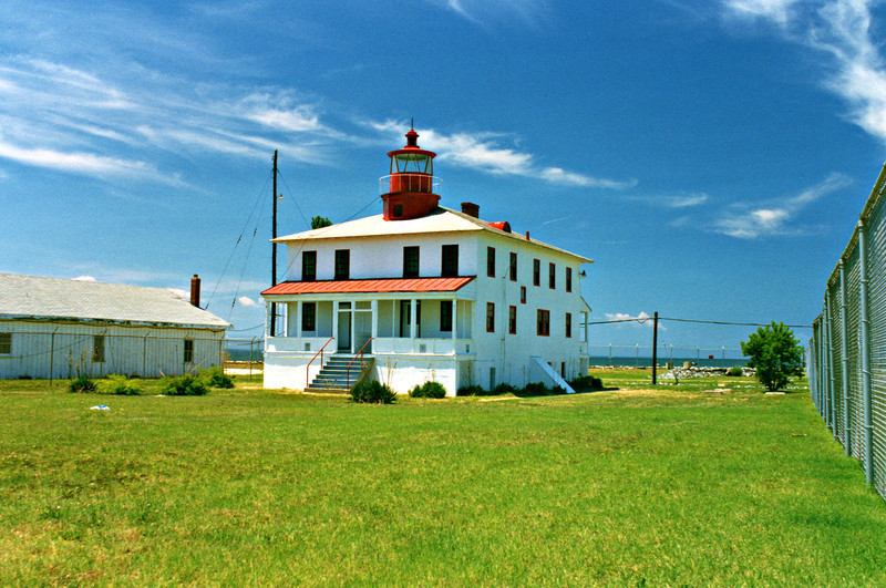In 1883 the lighthouse was modified when a 2nd story was added to the house and porches were built on the front and rear.  This raised the light, equipped with a 4th order Fresnel since 1854, to a height of 41 feet.  A buoy repair depot was built on the south side of the lighthouse as well.  In 1894 an iron oil house was added.  On January 11, 1966 the lighthouse was deactivated and the light was moved to a skeleton tower offshore.