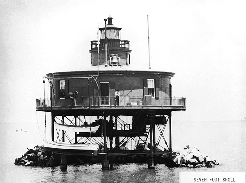 **Old National Archives Photo of Seven Foot Knoll Light**<br /> For the next year volunteers, including the members of Keeper Steinheise's family, worked on the lighthouse using grant money to restore the structure.  On August 22, 1989 the Seven Foot Knoll Lighthouse was listed on the National Register of Historic Places.  It was opened to the public and eventually became part of the Baltimore Maritime Museum.  It remains one of the main attractions on the Baltimore waterfront.