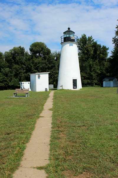 After automation the light station became the target of vandalism.  In 1972 the keepers house was torn down.  In 1977 the wooden door to the tower was broken down and the Fresnel lens was stolen.  An acrylic light was installed in the lantern, the wooden stairs were removed and a metal door was welded shut.