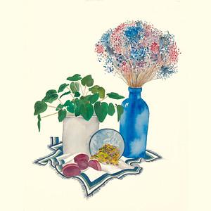 Blue Vase of Flowers 8X8