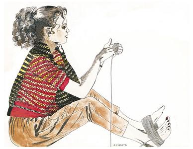 Girl with Yarn 11x14