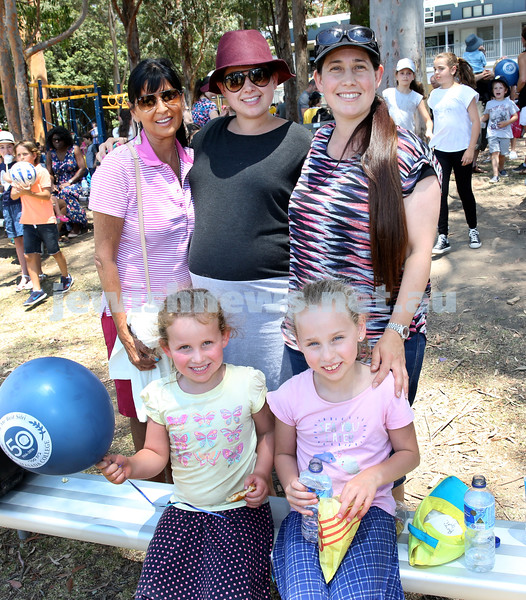 Masada College 50th Anniversary Gala Picnic. From left back: Hilary Neumann, Shira Lavan, Elly Guth, (front) Aviya and Revital Guth. Pic Noel Kessel.
