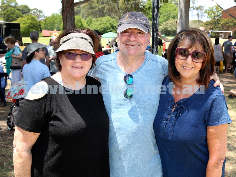 Masada College 50th Anniversary Gala Picnic. From left: Shelley and David Evian, Ros Glaser. Pic Noel Kessel.