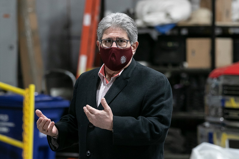 Mascon Medical out of Woburn held a press conference in Leominster at the Office of Emergency Management to announce the quarter of a million dollars worth of personal protective equipment (PPE) they where giving to the City's of Leominster and Fitchburg. Mayor Stephen DiNatale of Fitchburg addresses the small crowd during the press conference. SENTINEL & ENTERPRISE/JOHN LOVE