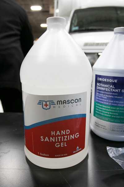 Mascon Medical out of Woburn held a press conference in Leominster at the Office of Emergency Management to announce the quarter of a million dollars worth of personal protective equipment (PPE) they where giving to the City's of Leominster and Fitchburg. One of the bottles of hand snaitizing gell that the citys will be getting from Mascon Medical. SENTINEL & ENTERPRISE/JOHN LOVE