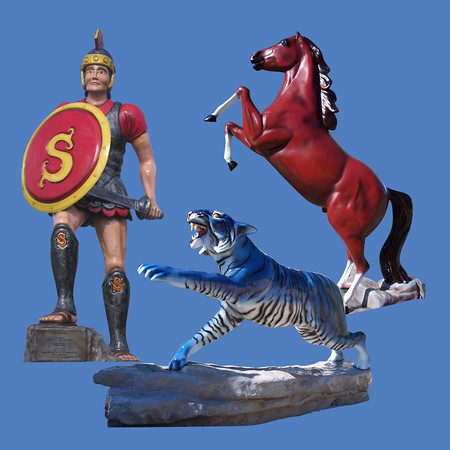Spartan, 14'H  #8059<br /> Tiger on base<br /> Mustang #7017