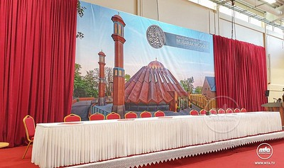 Preparations underway for the inauguration event of Mubarak Mosque, Islamabad (Tilford).