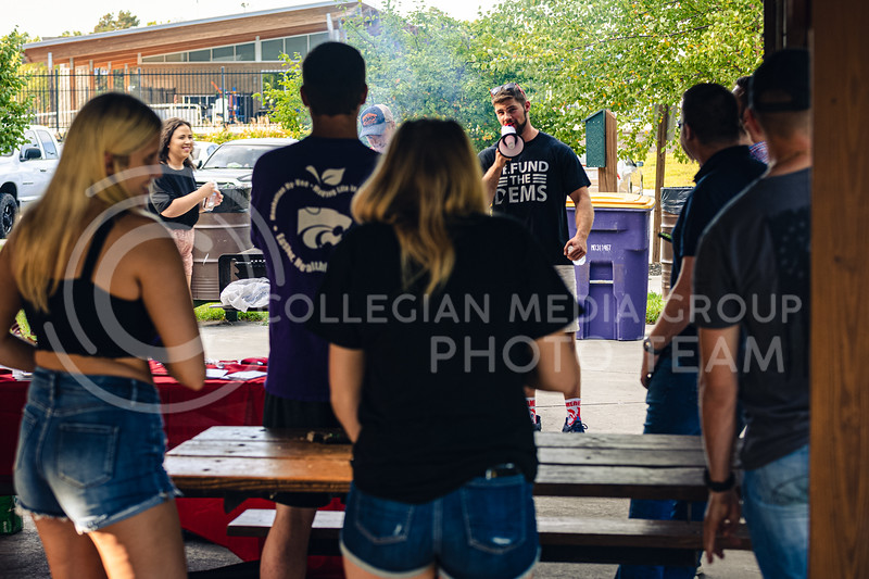 The Kansas State University College Republicans hosted a mask mandate protest located at Poyntz shelter in City Park, Manhattan, KS on Aug 23. (Dylan Connell | Collegian Media Group)