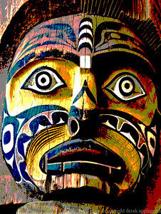 Totem pole in the Museum of Anthropology, Vancouver, somewhat processed