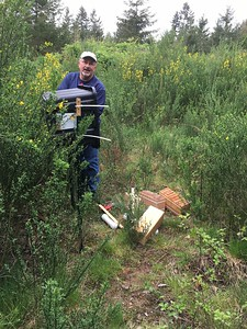 Meet Jim Watts.  He is preparing a colony out by our Scotch Broom crops.