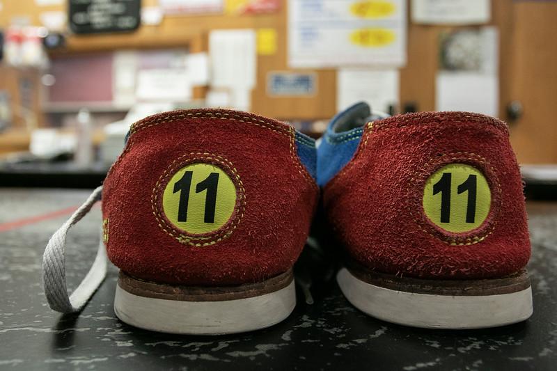 A pair of the shoes at Mason Recreation Center on Thursday night January 28, 2021. SENTINEL & ENTERPRISE/JOHN LOVE