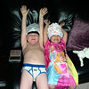 Silliness rules--modeling their underwear for Trevor and Dad