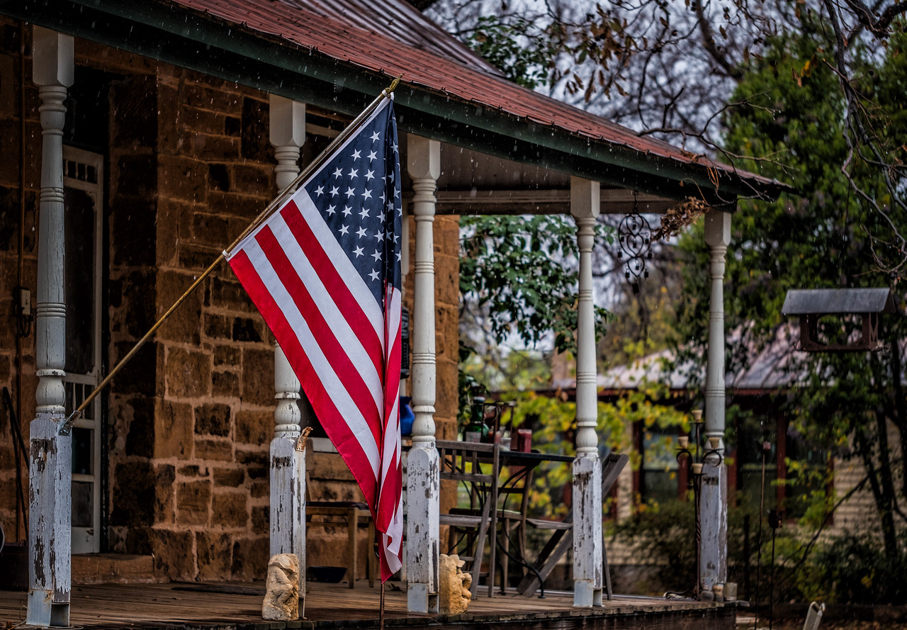 Flag on Old Porch