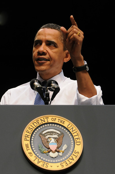 President Obama visited Mason for a public address in the Patriot Center on health care reform. Photo by Evan Cantwell