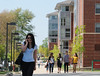 Mason students walking in front of Peidmont in the Chesapeake community. More than 5,000 students live on the Fairfax campus. Photo by Evan Cantwell