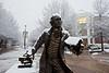 George Mason statue in the snow