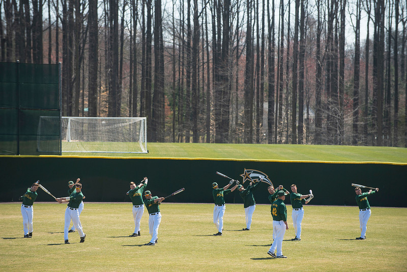 George Mason University's baseball team warms up.  Evan Cantwell/Creative Services/George Mason Unversity