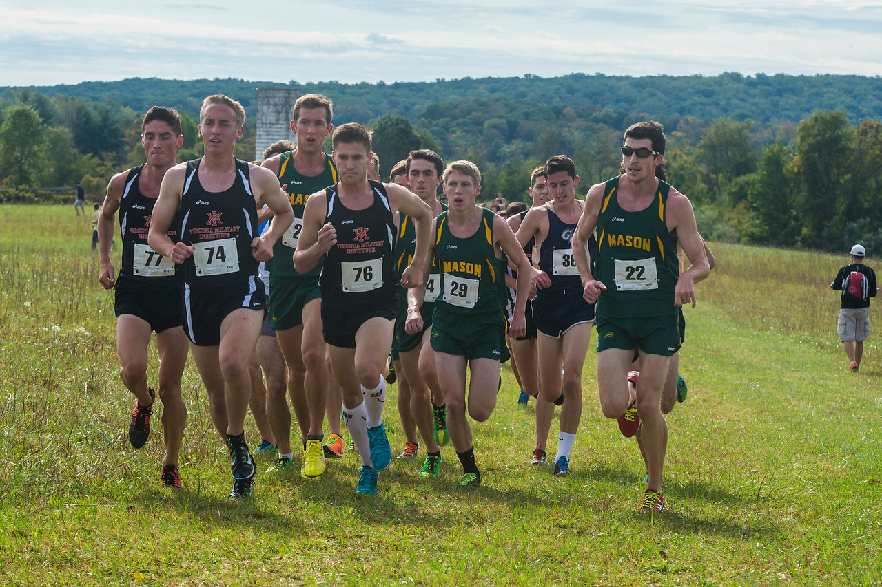 George Mason University men's cross country team competes in the 2014 George Mason University Invitational at the Oatlands Plantation in Leesburg, Va. on October 4, 2014. Photo by Craig Bisacre/Creative Services/George Mason University.