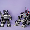 Mini-Hubo robots.  Photo by Ron Aira/Creative Services/George Mason University