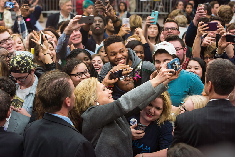 Democratic presidential candidate and former Secretary of State Hillary Clinton hosts a political rally on George Mason's Fairfax Campus.  Photo by:  Ron Aira/Creative Services/George Mason University