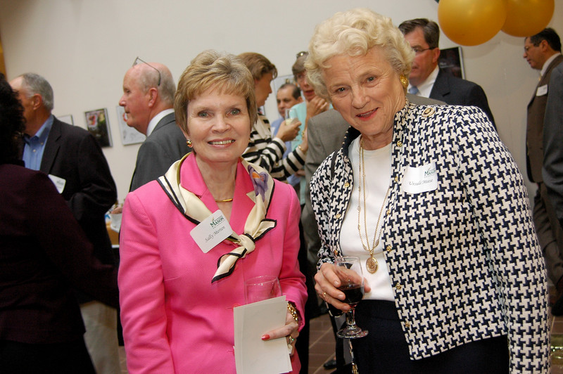 Sally Merten and Ursula Meese and the reception for the dedication of the Edwin Meese III Conference Room in Mason Hall. Photo by Evan Cantwell