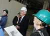 President Alan Merten and wife Sally tour the Mason Inn Hotel and Conference Center under construction. Photo by Creative Services.