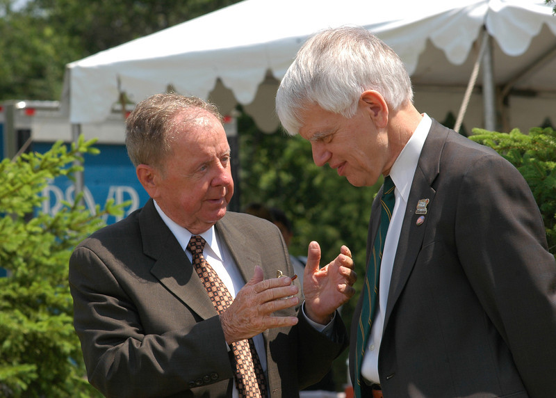 Dr. Merten chatting during the groundbreaking ceremony for the Hylton Performing Arts Center on the Prince William Campus of George Mason University. Photo by Evan Cantwell