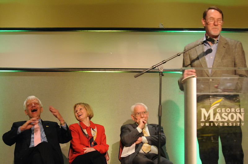 Bill Miller speaking at the Mason Nation Farewell Tribute to the Mertens. Photo by Evan Cantwell