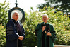 Scott Cowen, (left) president of Tulane University in New Orleans with Dr. Alan Merten addressing students before commencement. Dr. Cowen was the 2006 commencement speaker and was honored with an honorary doctor of humane letters for the leadership he displayed during the Hurricane Katrina disaster