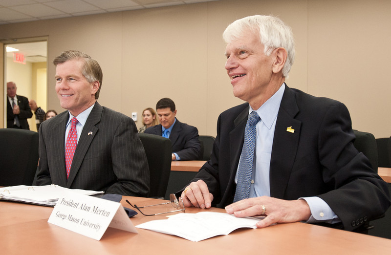 Governor Bob McDonnell and Dr. Alan Merten at the 4-VA Cisco TelePresence demonstration with officials from George Mason University, James Madison University, University of Virginia, and Virginia Tech at University Hall, Fairfax Campus.