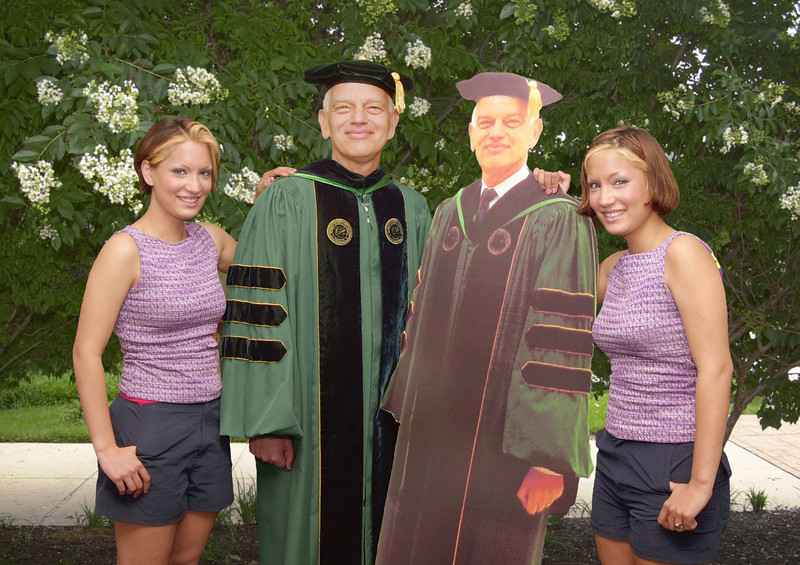 Seeing double and the 2001 Commencement. Photo by Evan Cantwell