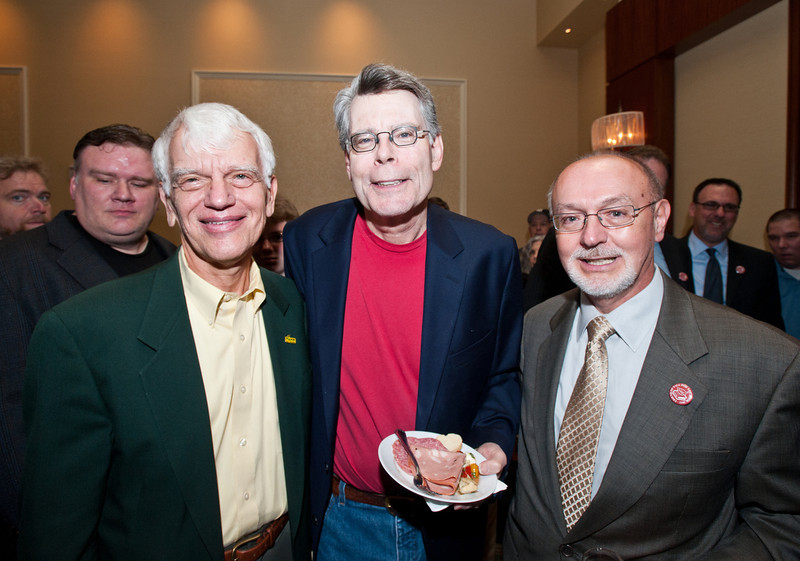(L to R) George Mason University President Alan Merten, author Stephen King, and University Librarian John Zenelis attend a reception before King speaks at the Center for the Arts Concert Hall, Fairfax Campus during the 2011 Fall for the Book festival. Photo by Alexis Glenn