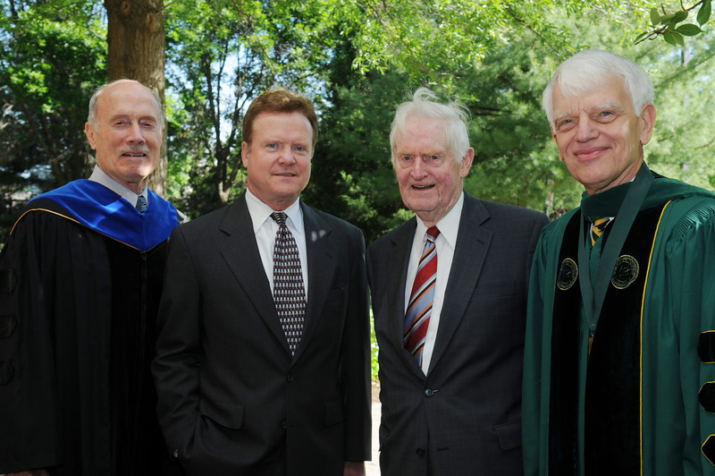 Left to right: Dr. Ernst Volgenau, Senator Jim Webb, former Virginia Governor Linwood Holton, and Dr. Alan Merten.