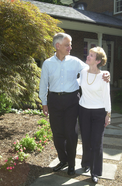 President Alan Merten and wife Sally at Mathy House. Photo by Evan Cantwell.