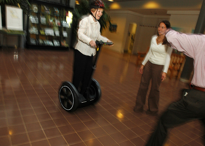 Mrs. Merten tries out a Segway. Photo by Evan Cantwell